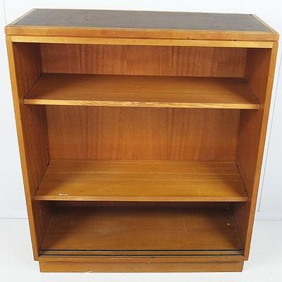 K Westbra Brown Vinyl Top Ash Bookcase Circa 1960's