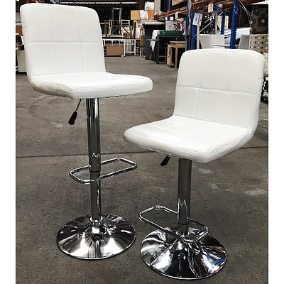 2 White PU Leather Stools - Ex Demonstration