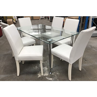 7 Piece White & Glass Dining Setting - Ex-Demonstration