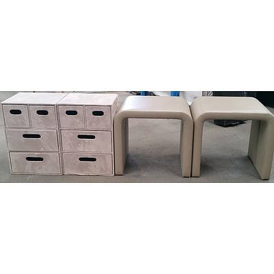Two Beige Storage Units and  Two Beige Stools