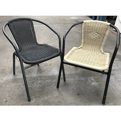 13 Black & Natural Outdoor Stackable Chairs