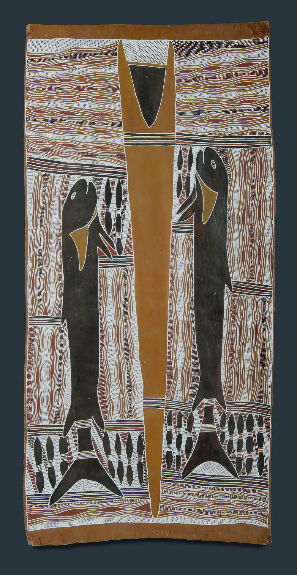 'GUMANA, Gawirrin (b.1935) Untitled - Fish Totems. Inscribed verso Natural Earth Pigment on Bark'