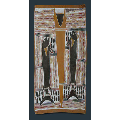 GUMANA, Gawirrin (b.1935) Untitled - Fish Totems. Inscribed verso Natural Earth Pigment on Bark