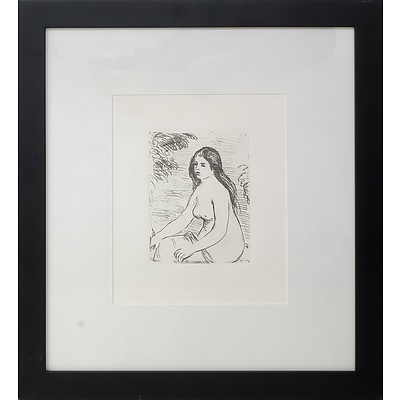 RENOIR, Pierre-Auguste (French 1841-1919) Femme Nue Assise (Seated Female Nude). Posthumous impression (from the original etching plate)
