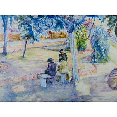 JOYCE, Ena (b.1925), 'Tea Under the Eucalypts', Oil on Canvas