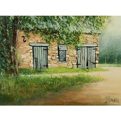 VANDER John (b.1947), Sunlit Barn, Rylstone, NSW, Oil on Canvas Board
