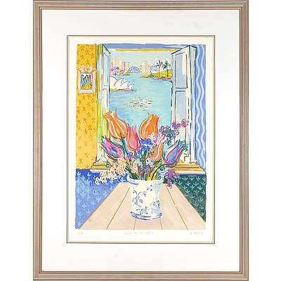 HANNAH, Eva (b.1942) (2) 'Old Nice,' 1992; 'Flowers by the Harbour,' 1991 , limited edition print 225/350; screenprint 50/99
