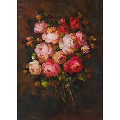 HALLAM Sylvia, 'Roses', oil on board