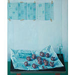 CHURCHLAND Lindsay (1921-2010), Still Life Study - Newspapers, Wine Glass & Onions , oil on canvas