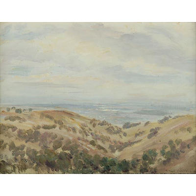 CAMPBELL Robert Richmond (1902-1972), South Australian Landscape from the Hills, 1964., Oil on Canvas Board