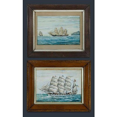 GURZENS ? R (2) , 19th C Ship Portraits. , W/Clr (2)