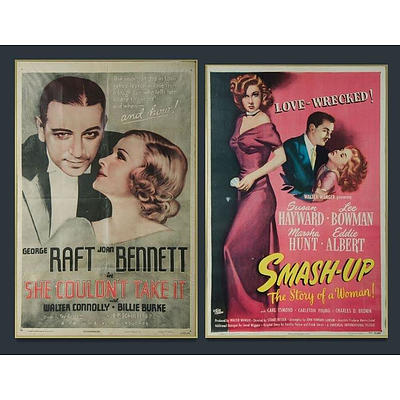 2 Framed Movie Posters, 'She Couldn't Take It,' Columbia Pictures, 1935; & 'Smash-Up: The Story of a Woman,' Universal-International Pictures, 1947 ,