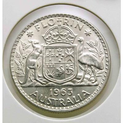 Australia Silver Queen Elizabeth II Florin 1963