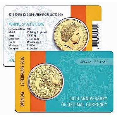 Royal Australian Mint 2016 Round 50 Cent Coin