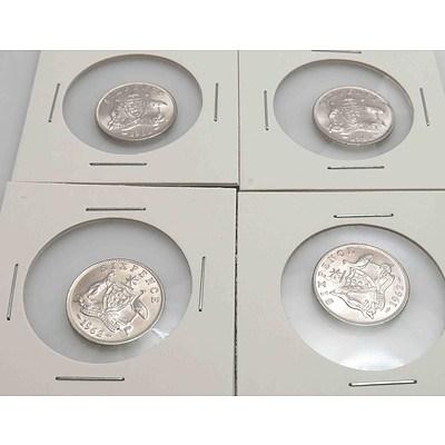 Australia Silver Queen Elizabeth II Sixpences 1962 (x4)