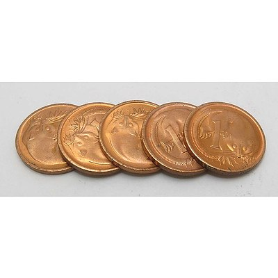 Australia Brilliant Uncirculated One Cent Coins 1976 (x5)