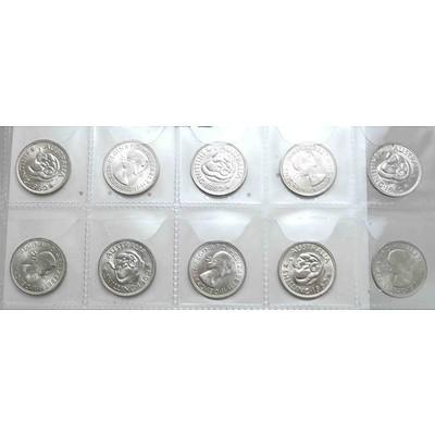 Australia Silver Queen Elizabeth II Shillings 1962 (x10)