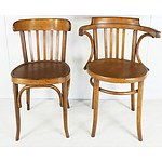 Two Oak Bentwood Chairs