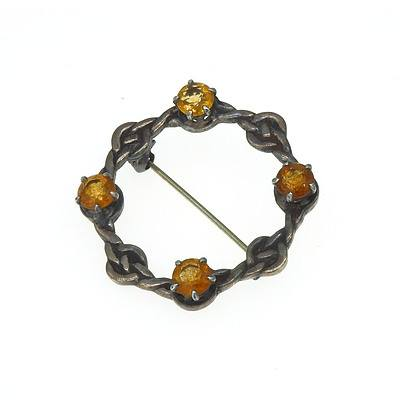 Sterling Silver Kilt Brooch With Four Citrine Stones in Claw Setting, Stamped Inoa