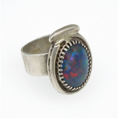 Sterling Silver Ring with Imitation Opal