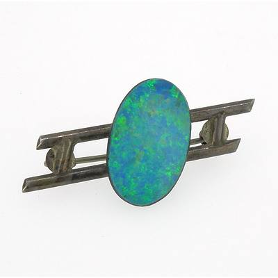 Opal Doublet on a Silver Bar