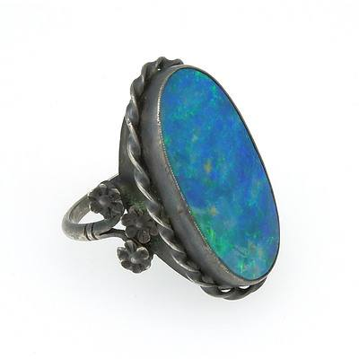 Antique Sterling Silver Ring With Oval Opal Doublet with Green, Blue and Orange Play of Colour