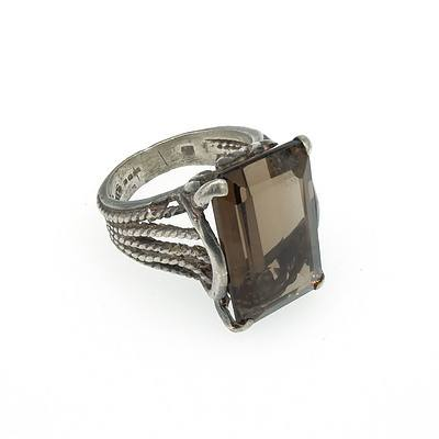 Ornate Sterling Silver Ring With Emerald Cut Smoky Quartz