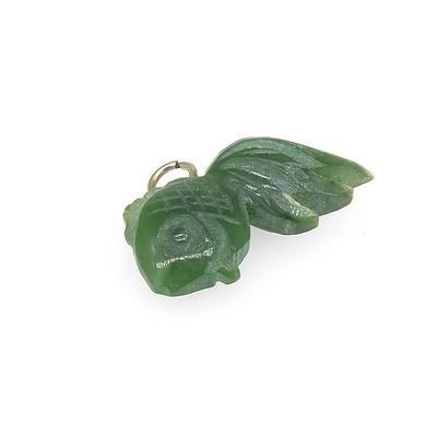 Carved Greenstone Jade Fish Pendant
