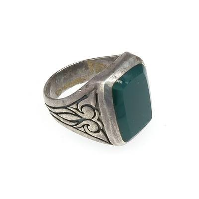 Sterling Silver Ring With Rectangular Flat Cabochon of Green Agate