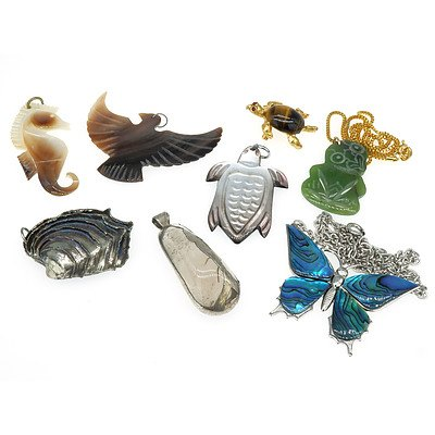 Tumbles Pieces of Angelhair Quartz with Formed Silver Coat, Paui Shell Butterfly Necklace, Greenstone Jade Tiki, Tigereye Turtle, Pewter Shell From Pendant and Three Mother of Pearl Pendants