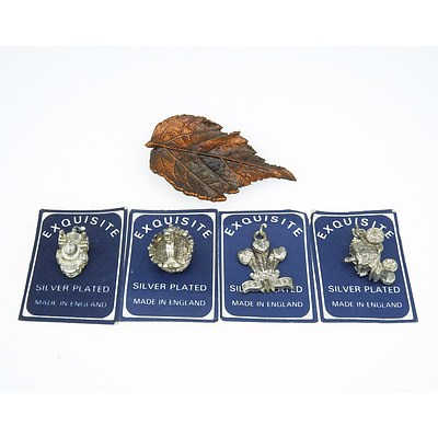 Four Silver Plated Charms and Maple Leaf Brooch