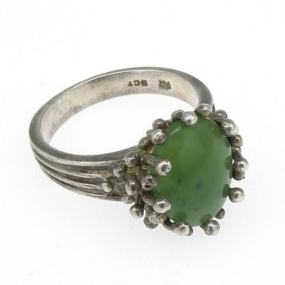 9ct White Gold Abstract Style Ring with Oval Cabochon of Greenstone Jade