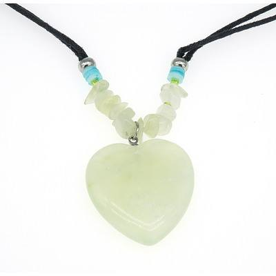 Necklace with Pale Olive Green Jade Shaped Heart Pendant