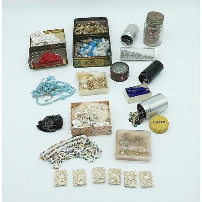 Group Antique and Vintage Glass Beads, String and Applique