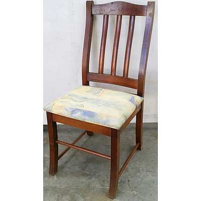 Stained Pine Dining Chairs - Lot of Six