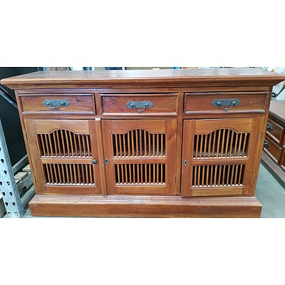 Stained Pine Buffet and Entertainment Unit
