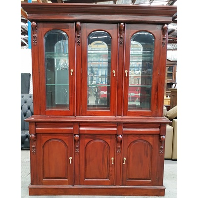 Antique Style Mahogany Buffet and Hutch