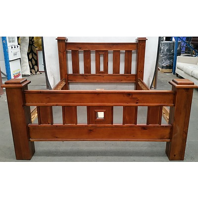 Substantial Stained Pine Queen Size Bed