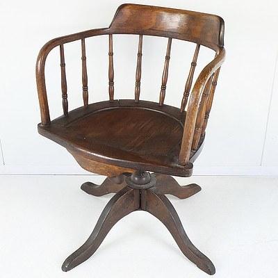 Vintage Oak Captains Chair