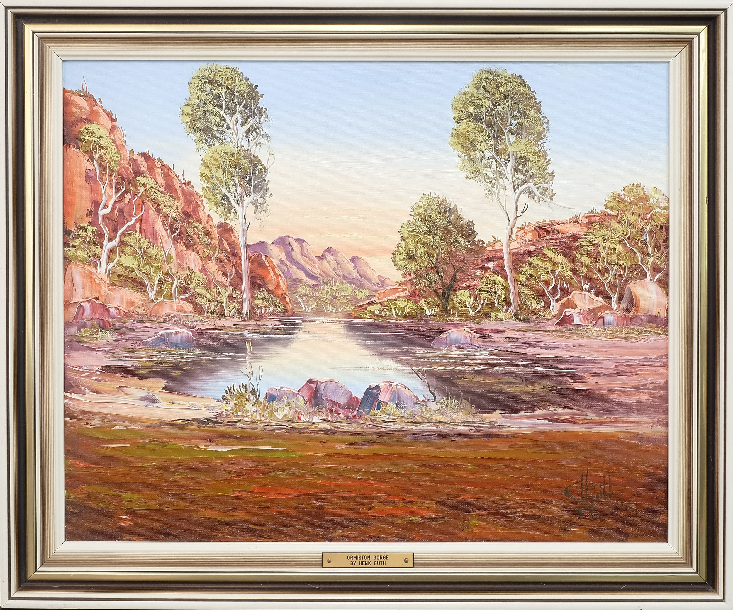 'Henk Guth (1921-2003) Ormiston Gorge Oil on Board'