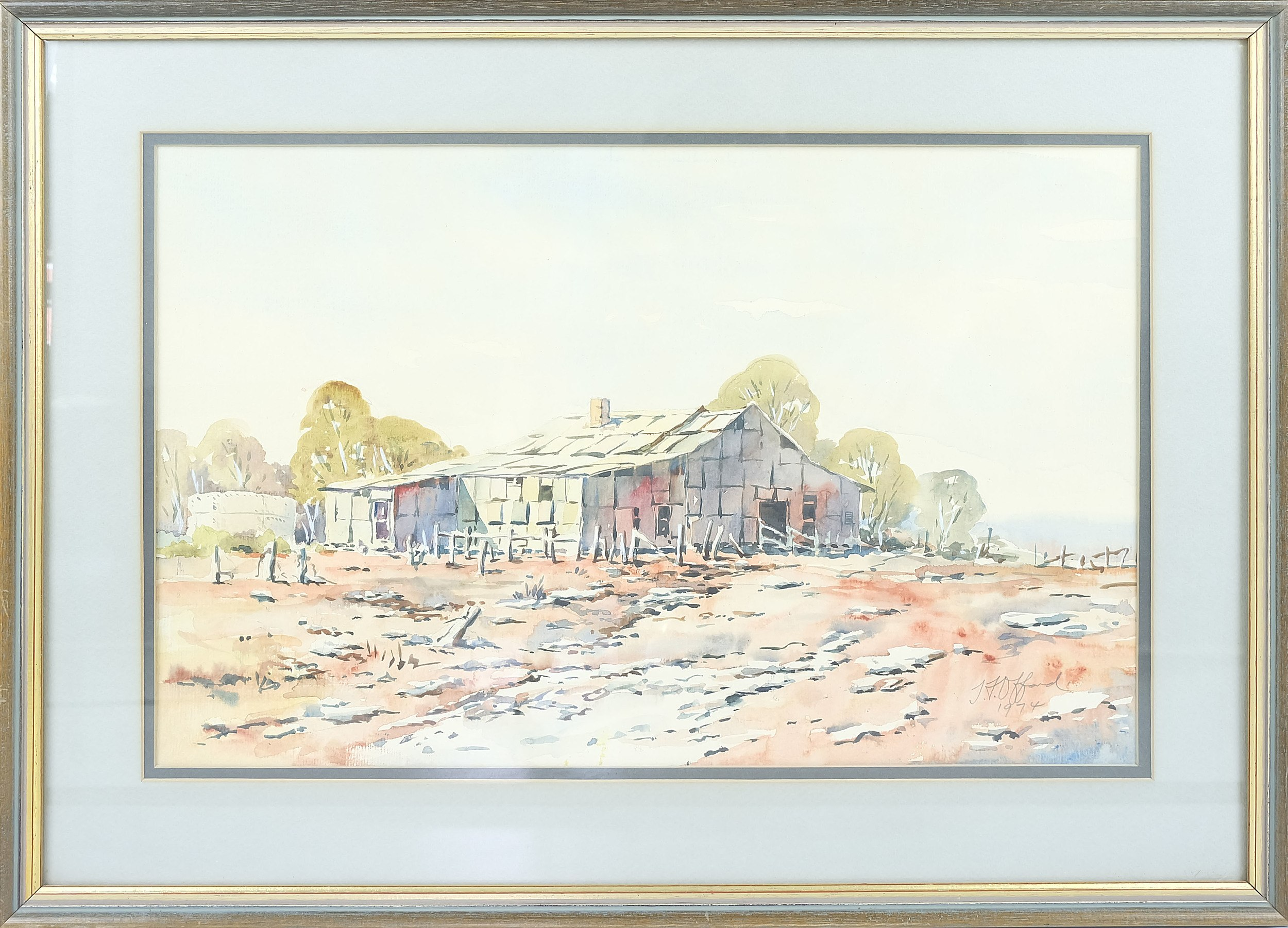 'Thomas Frank Offord (1929-) Wonnaminta Woodshed Watercolour'