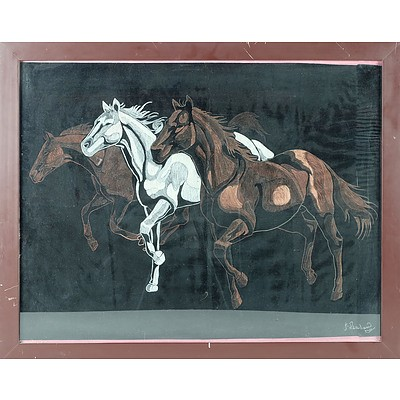 J Penahaw Galloping Horses Crayon on Fabric