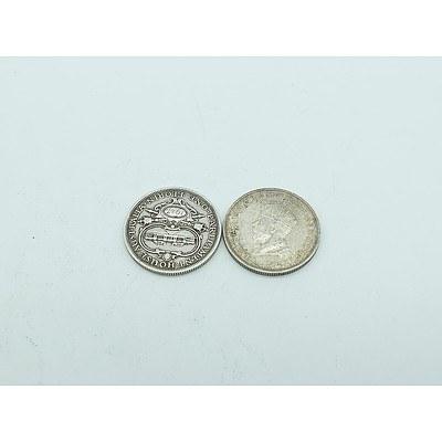 Two Australian 1927 Silver Parliament House Florins