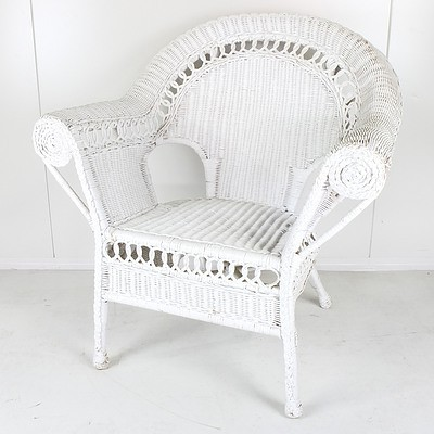 Vintage Painted Cane Armchair