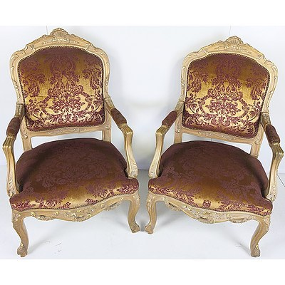 Pair of Louis Style Giltwood and Brocade Upholstered Grand Armchairs