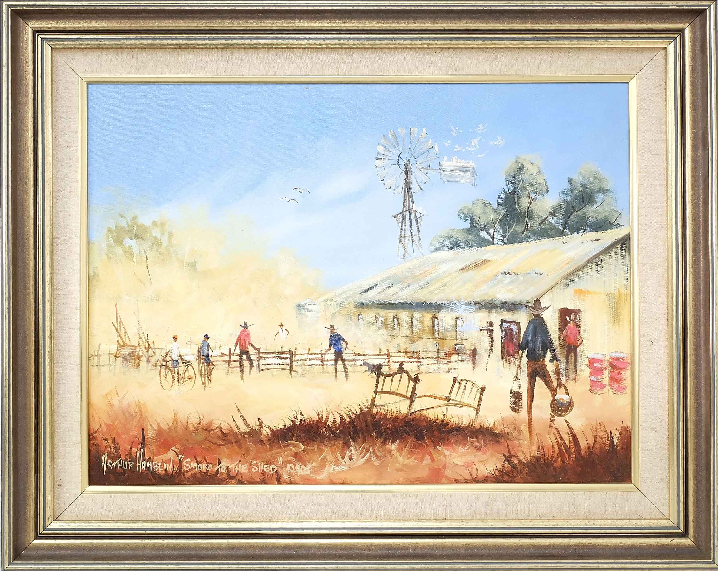 'Arthur Hamblin (1933-) Smoko to the Shed Oil on Canvas'