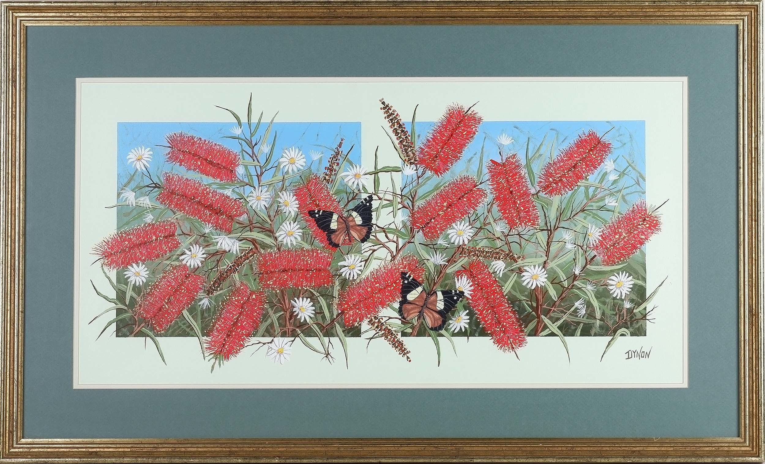 'John Dynon (1954-) Butterflies in the Bottle Brush Oil on Canvas'