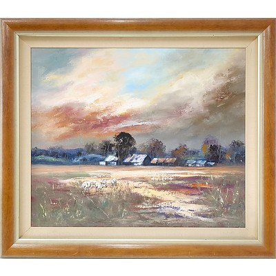 Anita Newman (1946-) Days End On The Plains Oil on Canvas