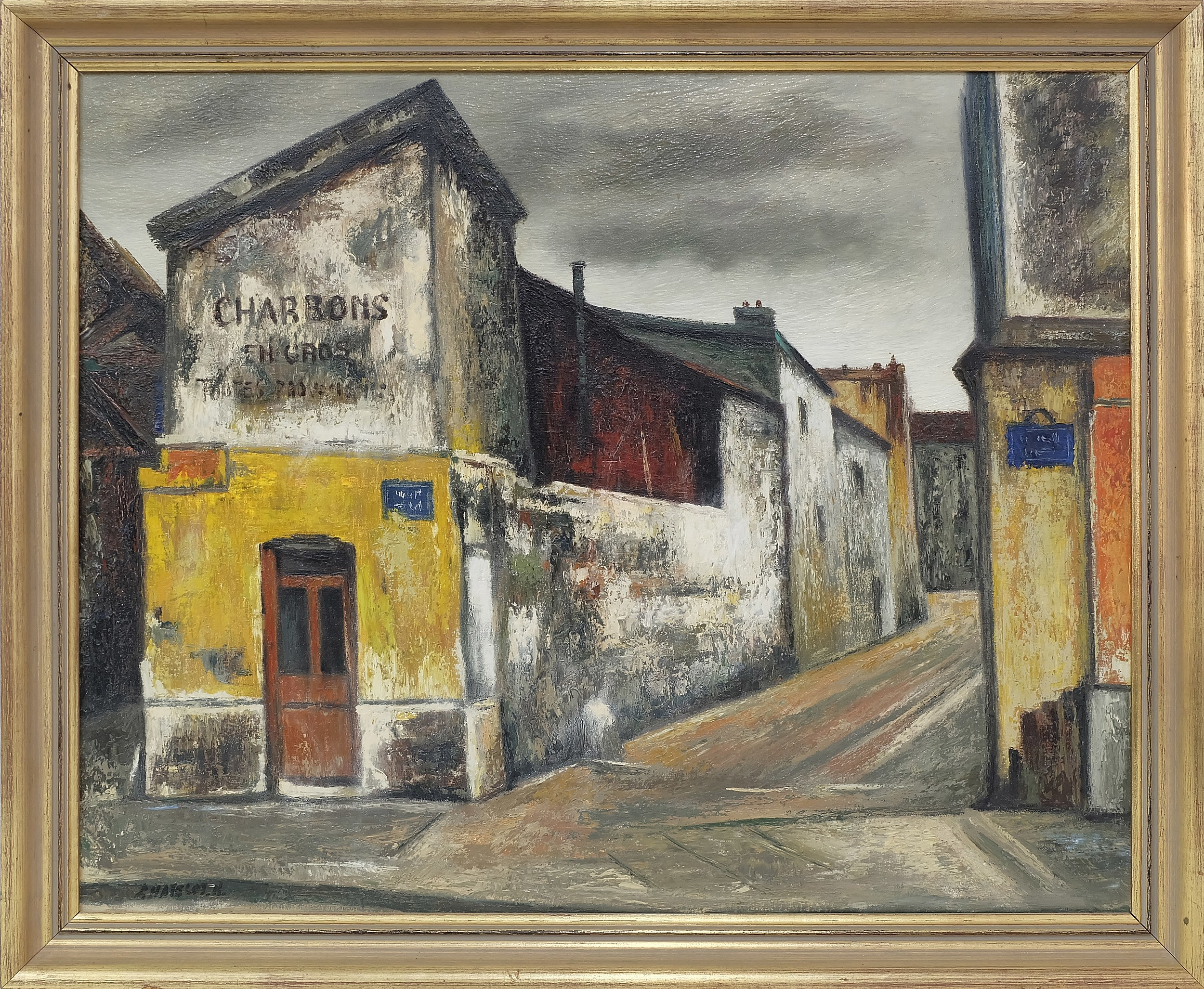 'Ronald W. Chatelot (1922-) Downtown Scene Oil on Canvas'