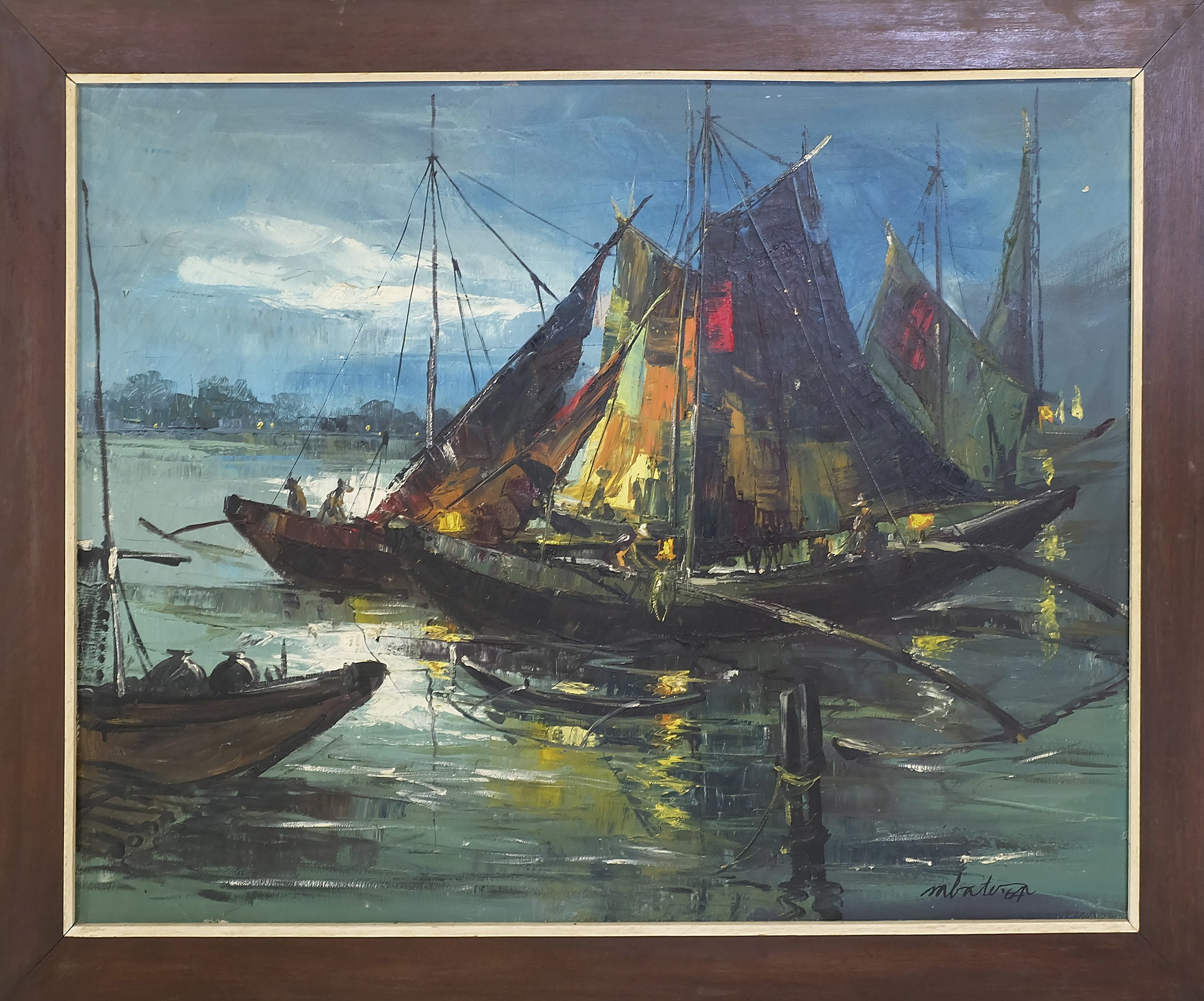 'South East Asian School Fishing Boats Oil on Canvas'